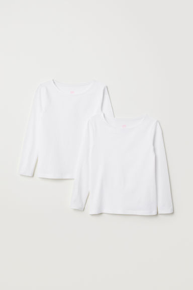 2-pack long-sleeved tops - White -  | H&M CN