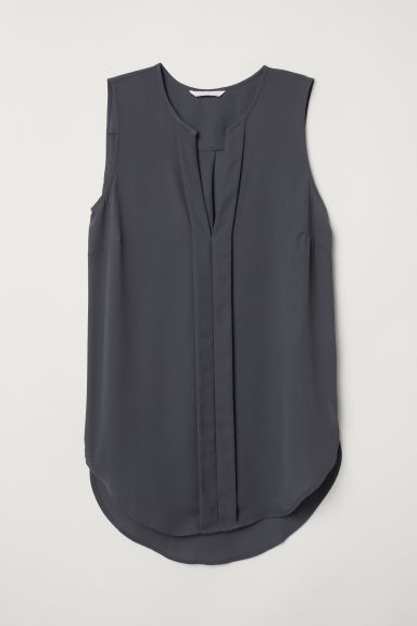 V-neck blouse - Dark grey -  | H&M