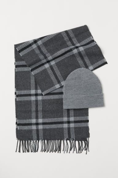 Hat and scarf - Light grey/Checked - Men | H&M