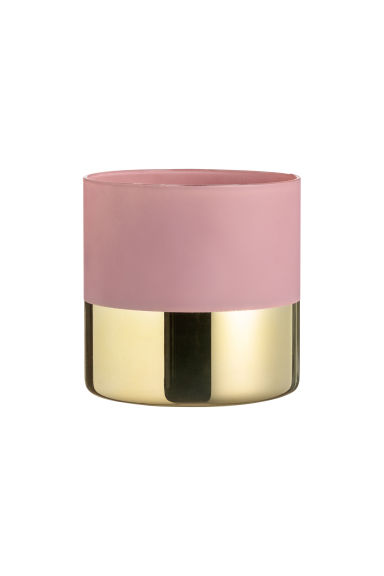Small glass plant pot - Powder pink/Gold-coloured - Home All | H&M CN