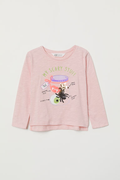 Appliquéd top - Light pink/My Scary Stuff - Kids | H&M IE