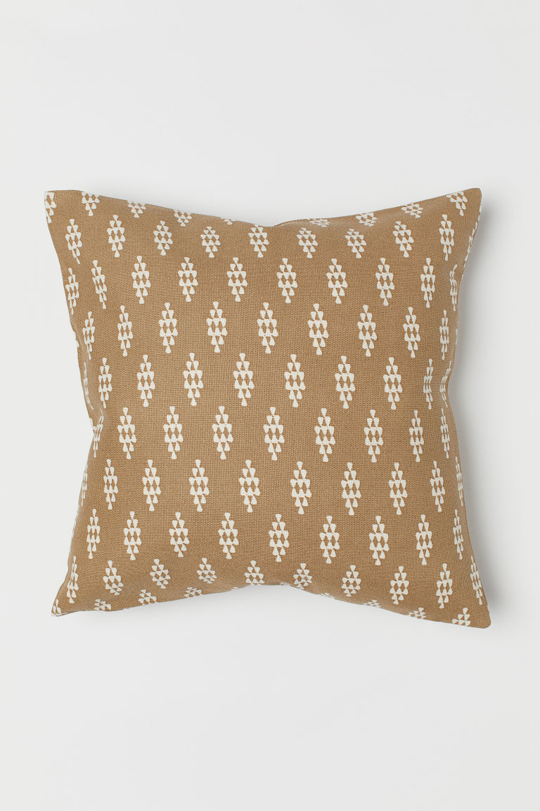 Canvas cushion cover - Dark beige/Patterned - Home All | H&M GB
