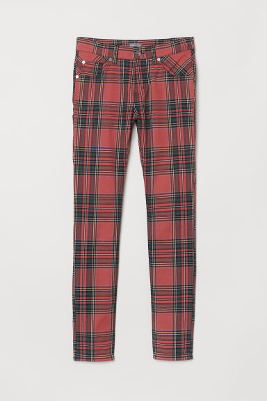 Twill trousers - Red/Checked - Men | H&M