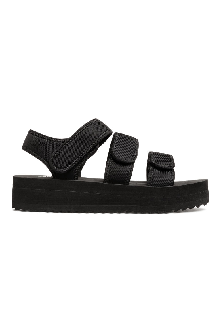 Scuba platform sandals - Black - Ladies | H&M CN