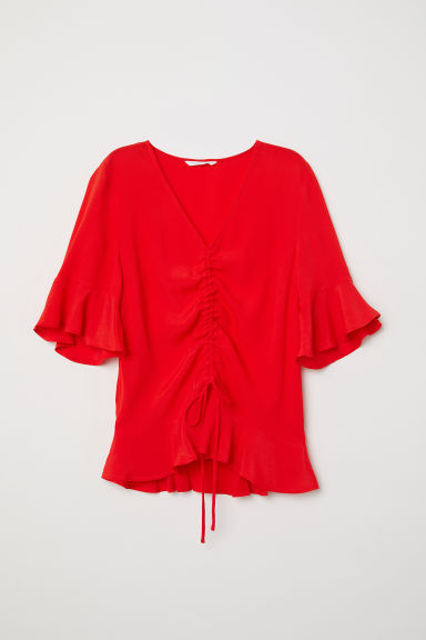 Drawstring blouse - Red - Ladies | H&M