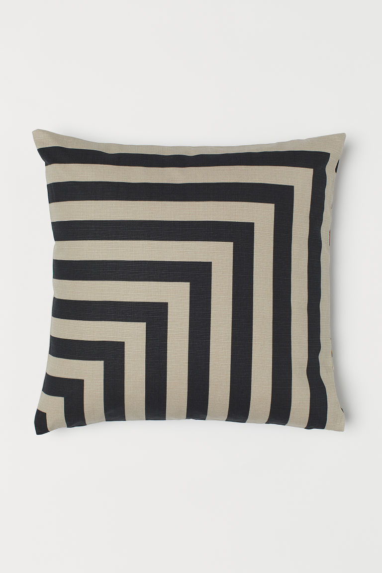 Patterned Cushion Cover - Black/light beige - Home All | H&M CA