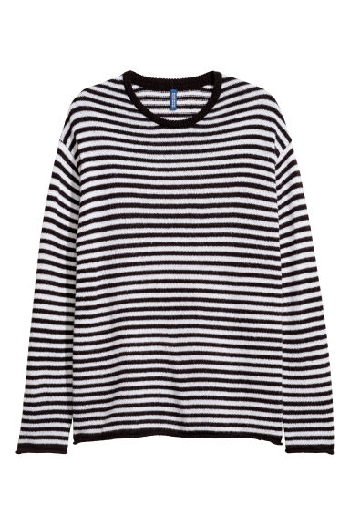 Knitted jumper - Black/White striped - Men | H&M CN