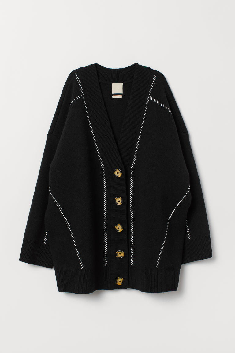 Oversized cardigan - Sort - DAME | H&M NO
