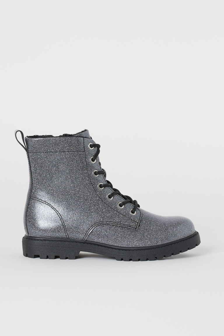 Warm-lined boots - Silver-coloured/Glittery - Kids | H&M
