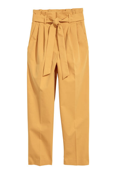 Paper bag trousers - Mustard yellow - Ladies | H&M CN