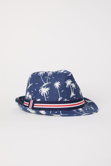 Straw hat - Dark blue/Patterned - Kids | H&M