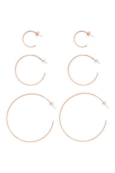 3 pairs earrings - Rose gold - Ladies | H&M