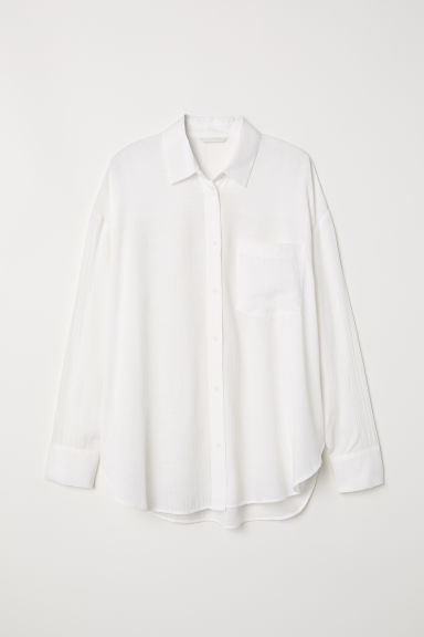 Viscose-blend shirt - White - Ladies | H&M CN