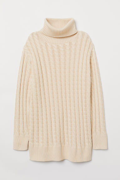 Cable-knit polo-neck jumper - Light beige -  | H&M CN