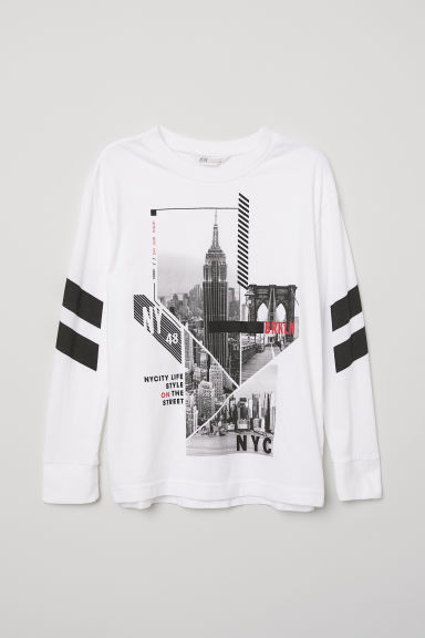Long-sleeved top - White/NYC - Kids | H&M