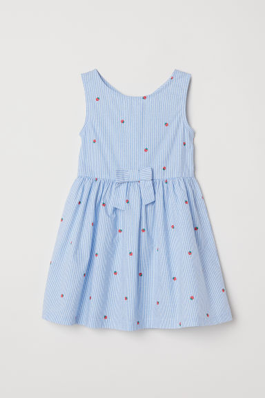Patterned cotton dress - Light blue/White striped -  | H&M