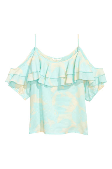 Top a spalle scoperte - Turchese chiaro/fantasia - DONNA | H&M IT