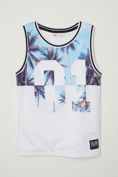Basketball vest top - White/Palm trees -  | H&M