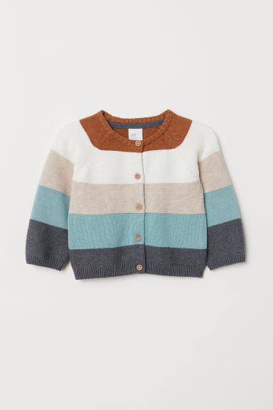 Textured-knit cardigan - Brown/Striped - Kids | H&M CN