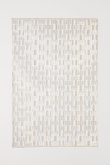 Jacquard-weave cotton rug - Beige/White - Home All | H&M CN