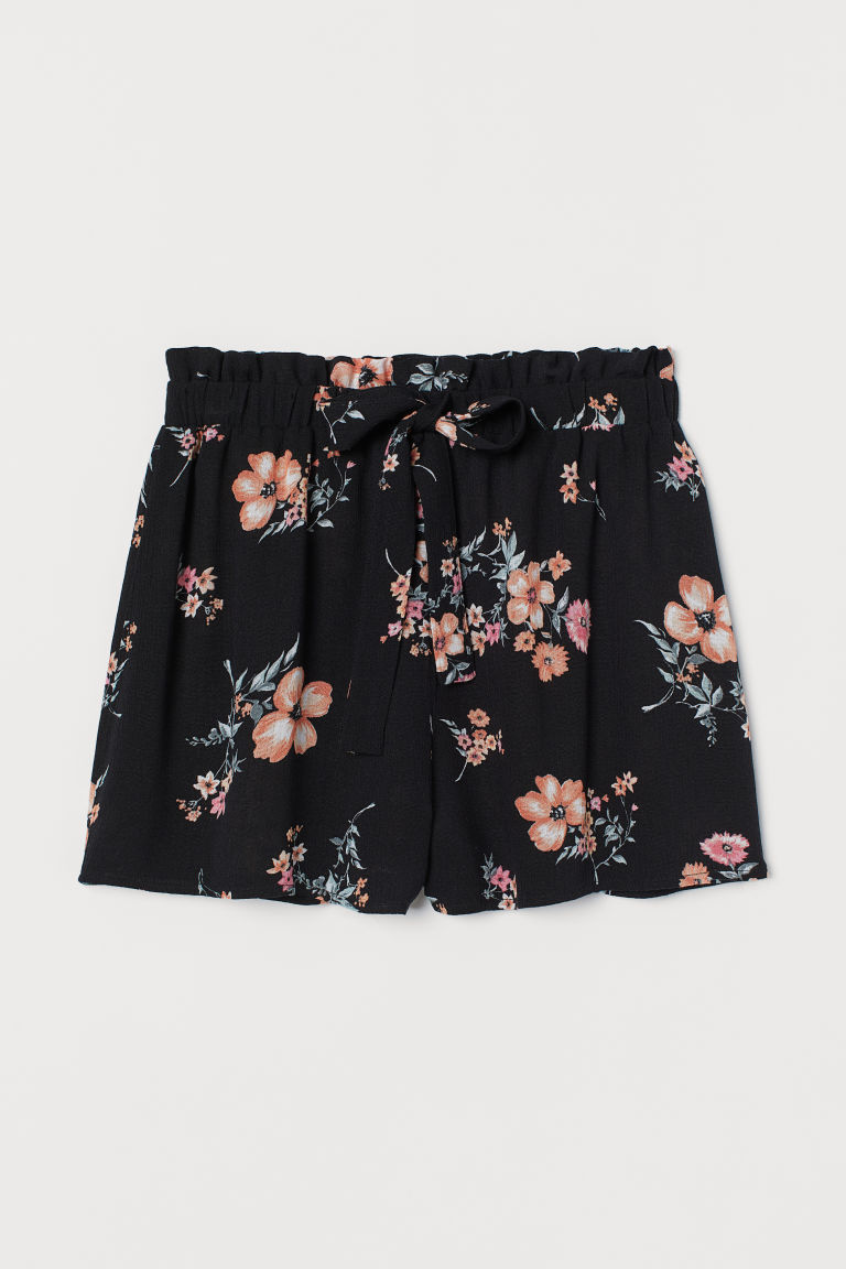 Shorts with ties - Black/Floral - Ladies | H&M IE