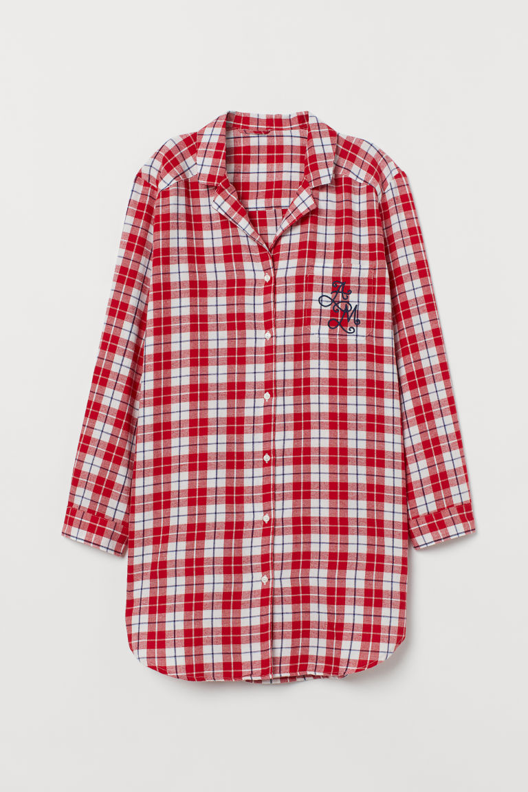 Flannel Nightshirt - Red/checked - Ladies | H&M CA