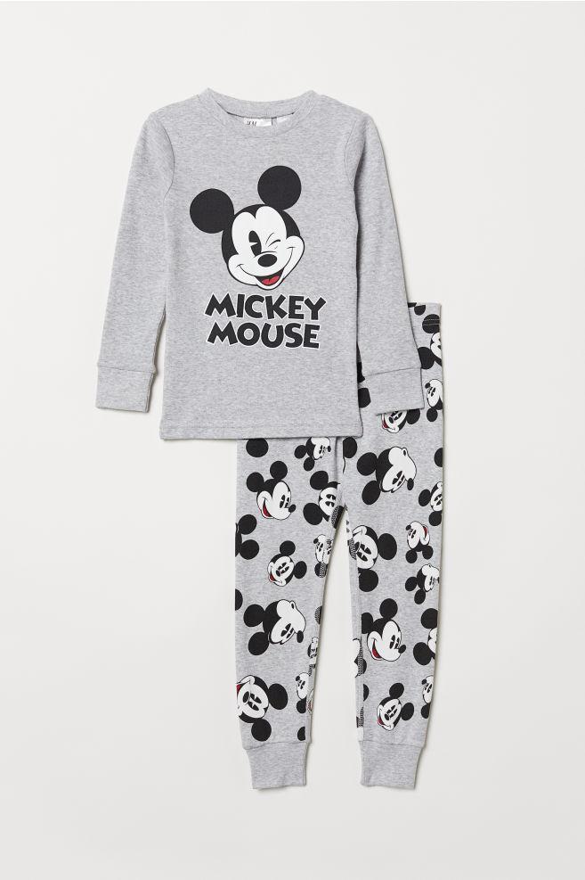 5094c52d331762 Dżersejowa piżama - Szary melanż/Myszka Miki - Dziecko   H&M ...