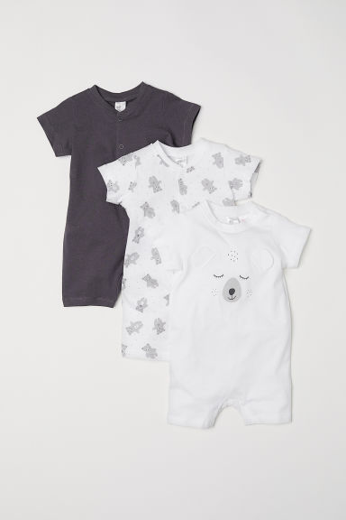 3-pack cotton pyjamas - Dark grey/Bears -  | H&M CN