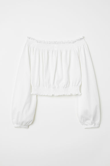 Off-the-shoulder top - White - Ladies | H&M