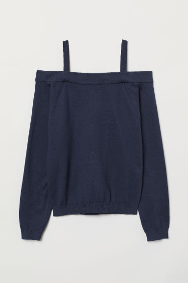 Off-the-shoulder jumper - Dark blue - Kids | H&M CN