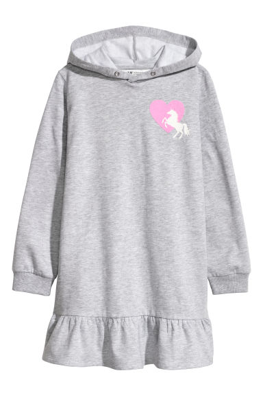 Sweatshirt dress - Light grey marl - Kids | H&M
