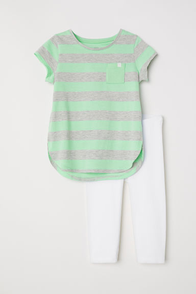 Jersey top and leggings - Green/Striped - Kids | H&M