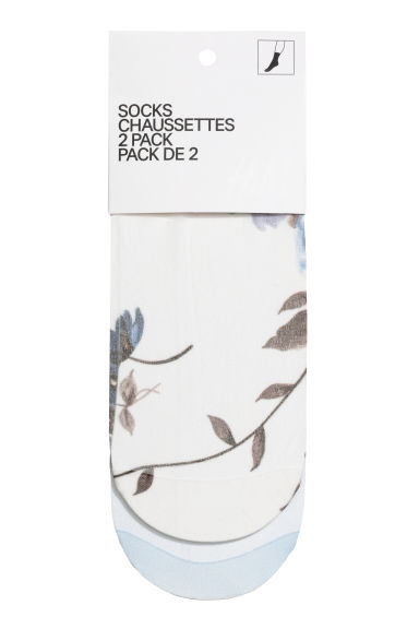 2-pack nylon socks - Light blue/Floral - Ladies | H&M