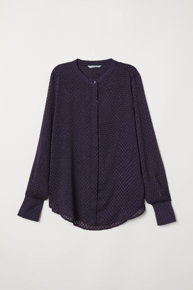 Long-sleeved blouse - Dark blue - Ladies | H&M
