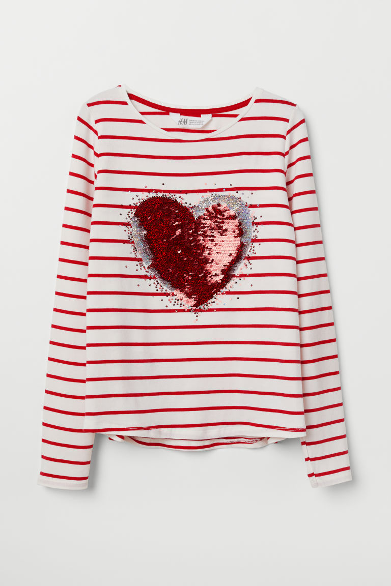 Jersey top with a motif - Red striped/Heart - Kids | H&M