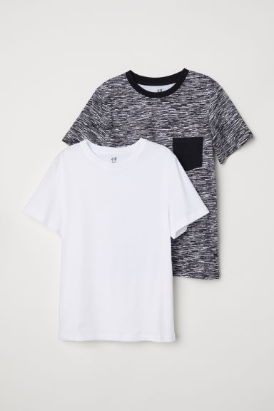 T-shirt, 2 pz - Nero/fantasia - BAMBINO | H&M IT