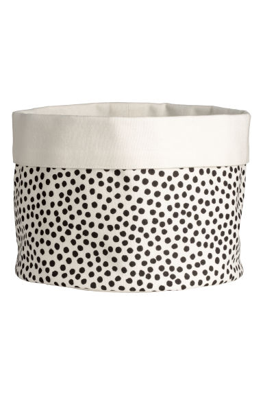 Fabric bread basket - Natural white/Black spotted - Home All | H&M GB
