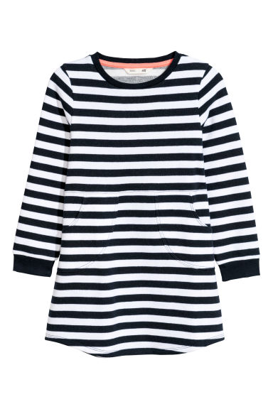 Sweatshirt dress - Dark blue/White striped -  | H&M CN