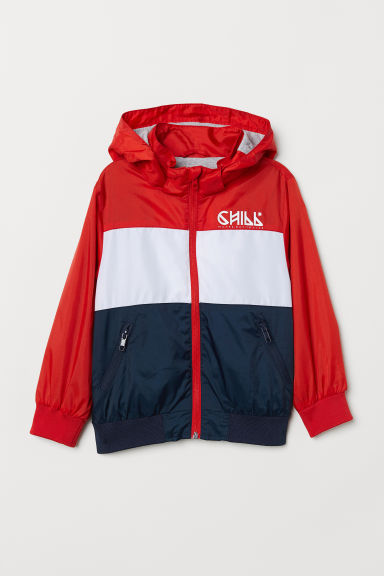 Outdoor jacket with a hood - Red/Block-coloured -  | H&M