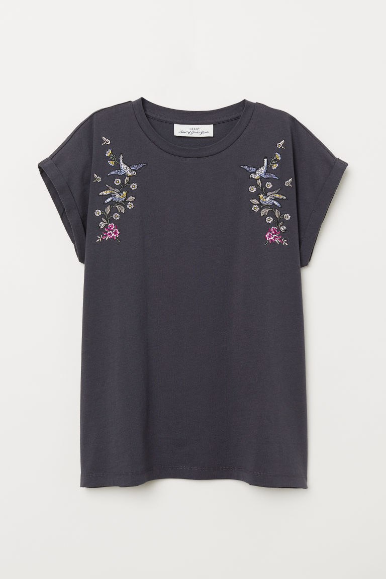 Top with embroidery - Dark grey/Birds -  | H&M CN