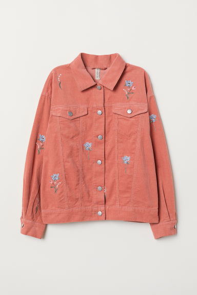 Embroidered corduroy jacket - Old rose -  | H&M