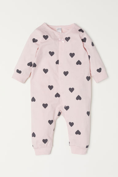 All-in-one jersey pyjamas - Light pink/Patterned -  | H&M