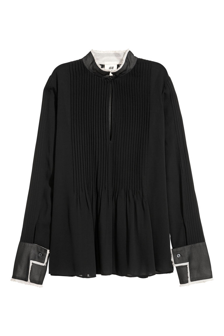 Chiffon blouse with pin-tucks - Black -  | H&M
