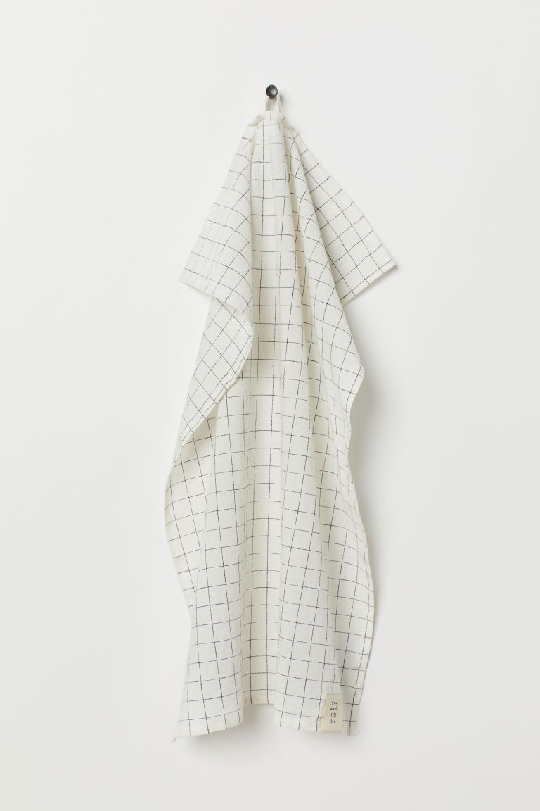 Linen-blend tea towel - White/Checked - Home All | H&M IE