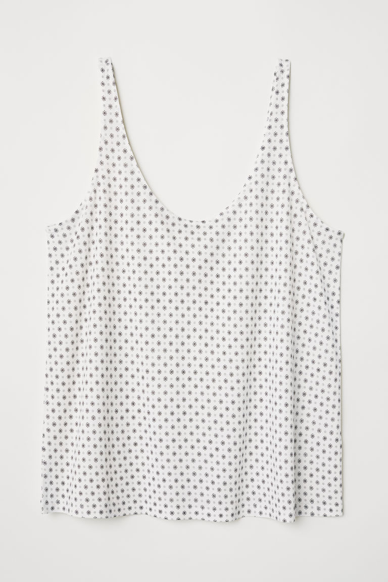 Jersey vest top - White/Patterned - Ladies | H&M