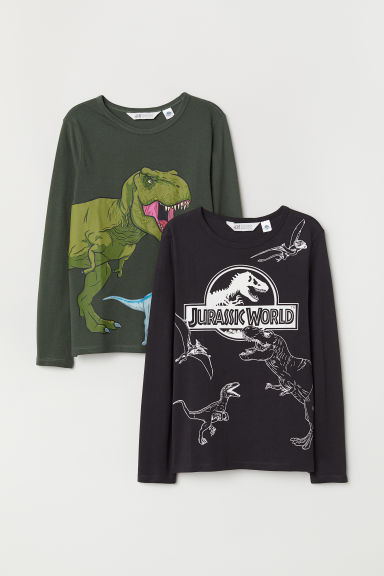 2-pack jersey tops - Dark green/Jurassic World - Kids | H&M