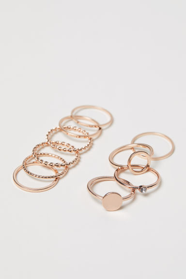 10-pack rings - Rose gold-coloured - Ladies | H&M GB