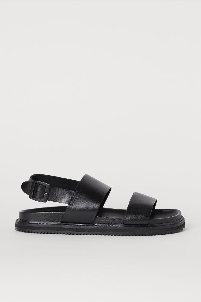 28675495a90fa0 Leren sandalen - Zwart - HEREN   H&M ...