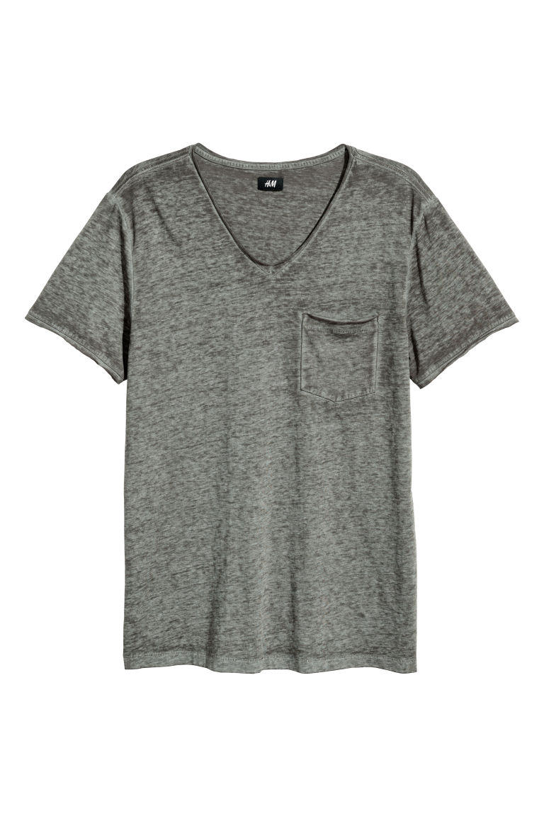 T-shirt con bordi a vivo - Kaki mélange - UOMO | H&M IT