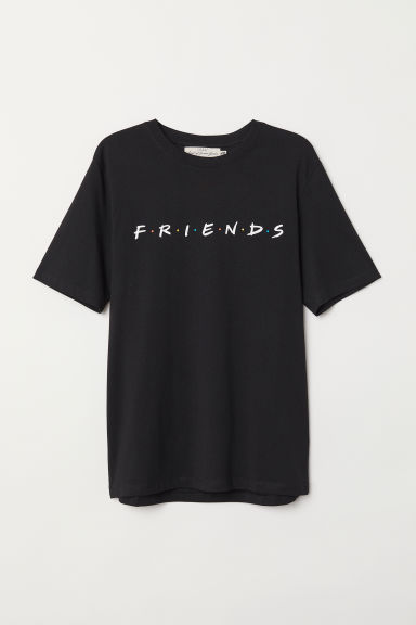印花T恤 - 黑色/Friends - Men | H&M CN